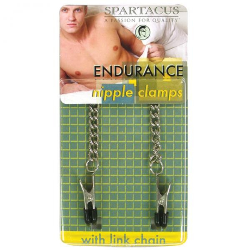 Spartacus Endurance Nipple Clamps With Curbed Chain Rubber Tipped - Nipple Clamps